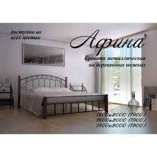 Афина - Кровать металлическая с деревянными ножками (тм Металл-Дизайн)